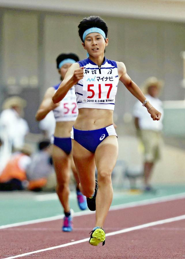 陸上女子400メートルで優勝した相洋の高島咲季 ©読売新聞社