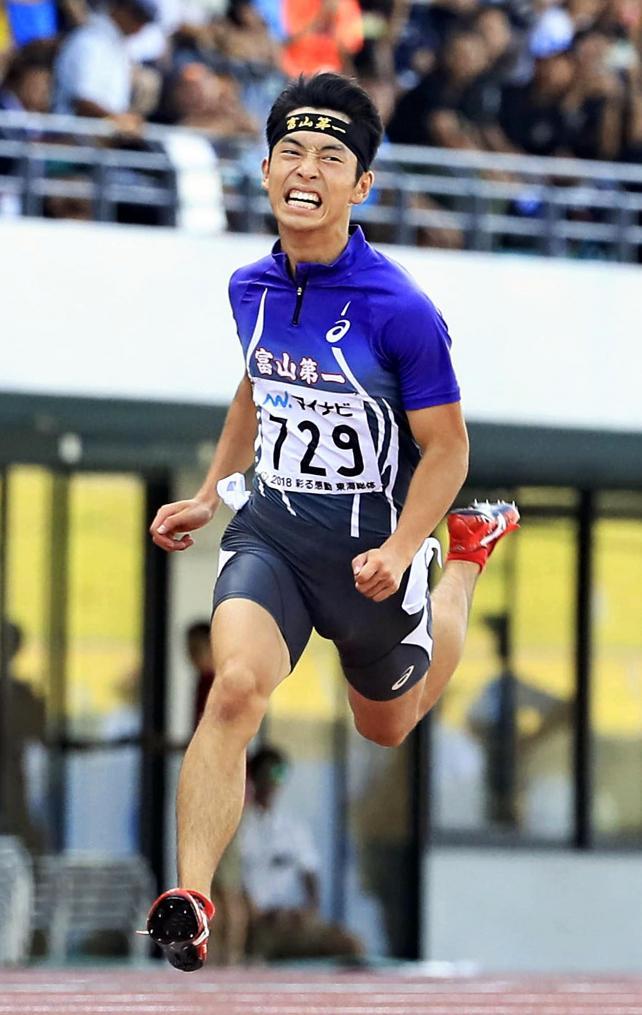 陸上男子100メートルで3位になった富山第一の辰巳新 ©読売新聞社