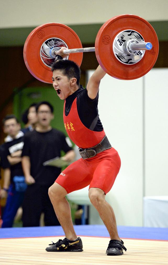 重量挙げ53キロ級で準優勝した洲本実の角所倫生 ©読売新聞社