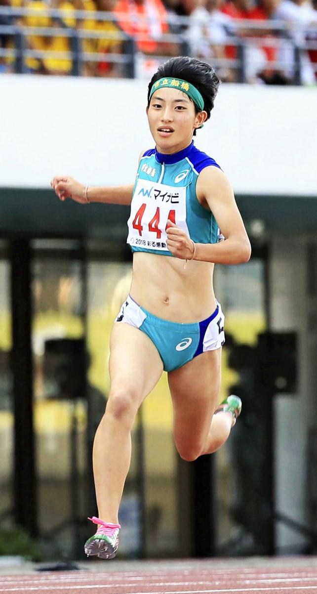 陸上女子100メートルで2位になった市船橋の景山咲穂 ©読売新聞社
