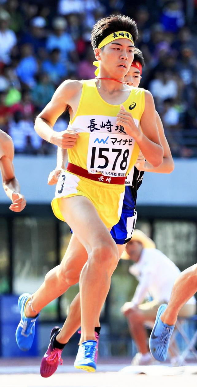 陸上男子1500メートルで3位になった瓊浦の林田洋翔 ©読売新聞社