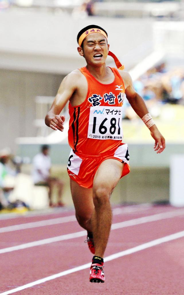 陸上男子200メートルで3位になった宮崎北の桑野拓海 ©読売新聞社