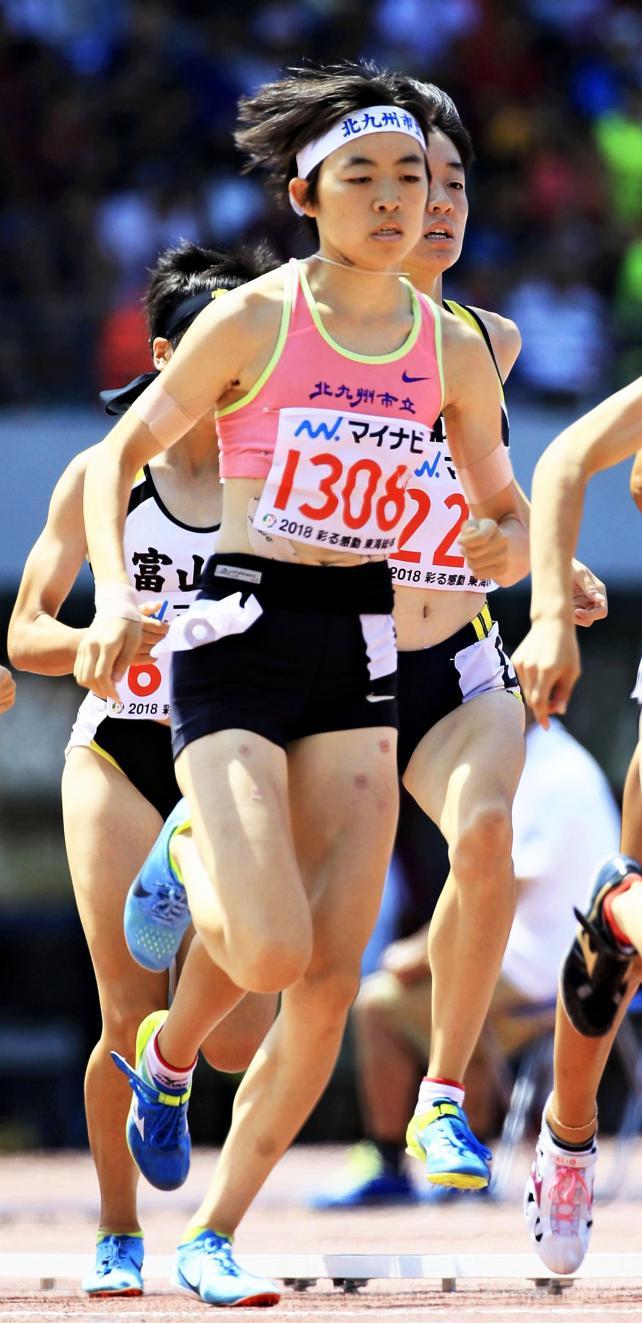 陸上女子800メートルで優勝した北九州市立の山口真実 ©読売新聞社