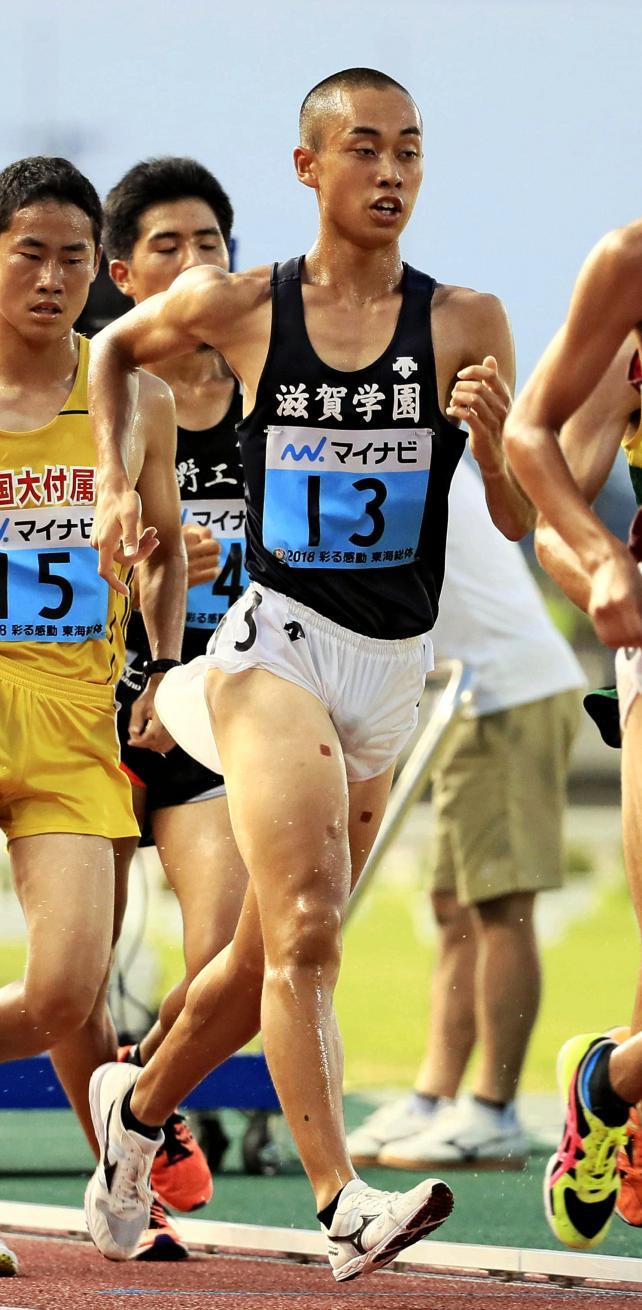 陸上男子5000メートル競歩で2位に入った滋賀学園の片岡龍也 ©読売新聞社