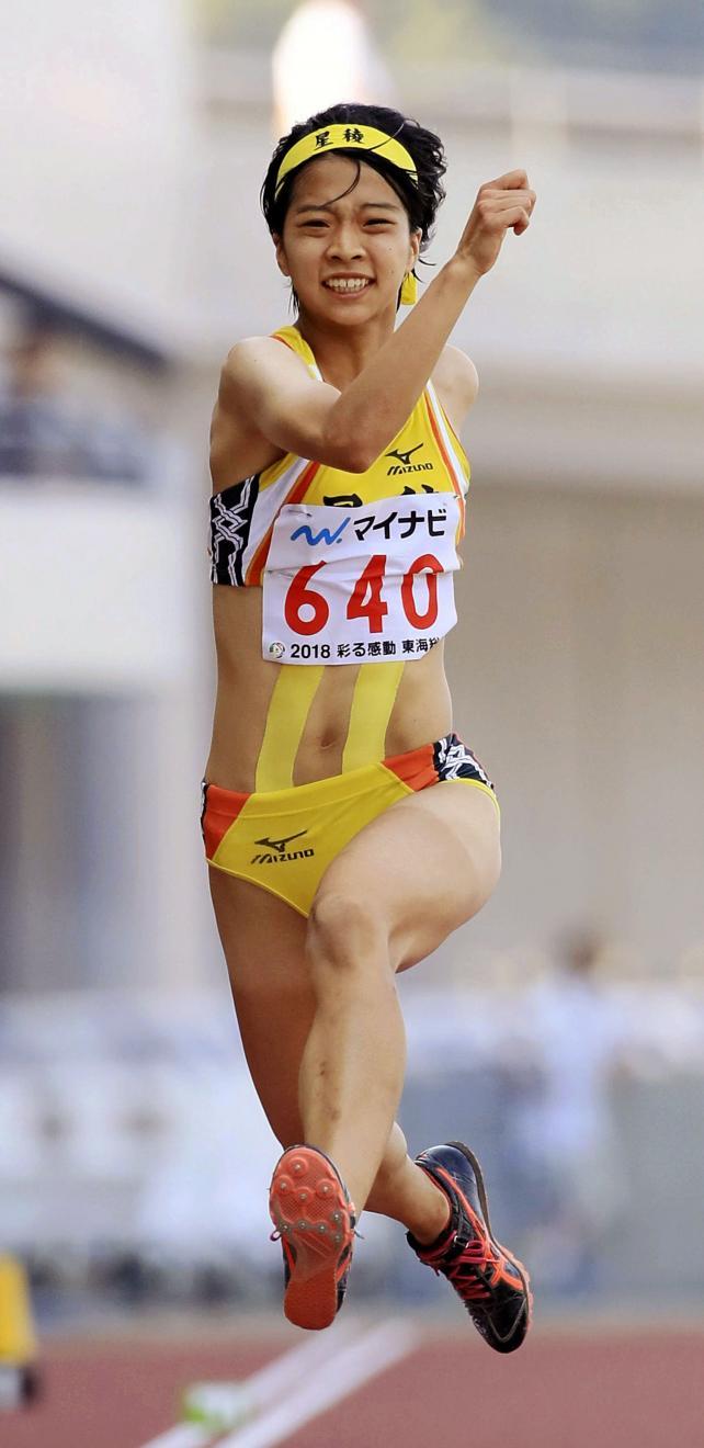 陸上女子三段跳びで2位に入った星稜の宮口愛子 ©読売新聞社