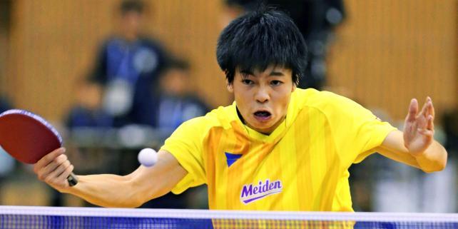 卓球男子シングルスで準優勝した愛工大名電の田中佑汰 ©読売新聞社
