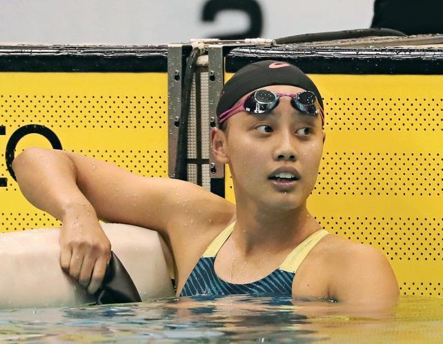 競泳女子200メートル個人メドレー、大会新記録で優勝した豊川の今井月 ©読売新聞社