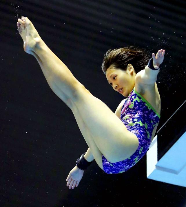 女子高飛び込みで7位入賞した愛工大名電の若林佑希子 ©読売新聞社