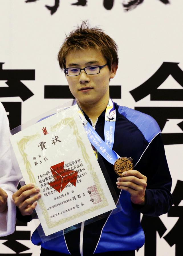 競泳男子200メートル自由形で3位になった太成学院大の簑田圭太 ©読売新聞社