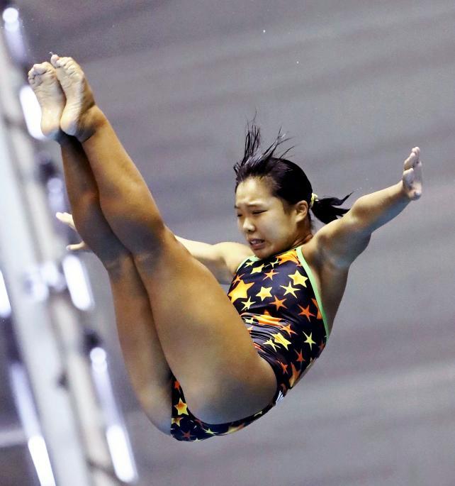 女子板飛び込みで8位入賞した高知工の立野萌 ©読売新聞社