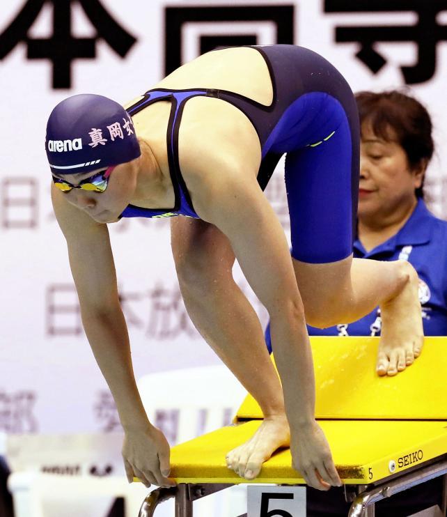 競泳女子100メートル自由形で3位に入なった真岡女の笹原世玲菜 ©読売新聞社
