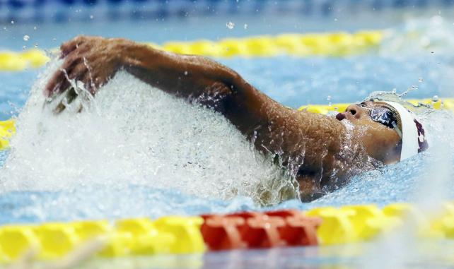 競泳男子400メートル個人メドレーで3位に入った佐賀学園の松田龍 ©読売新聞社
