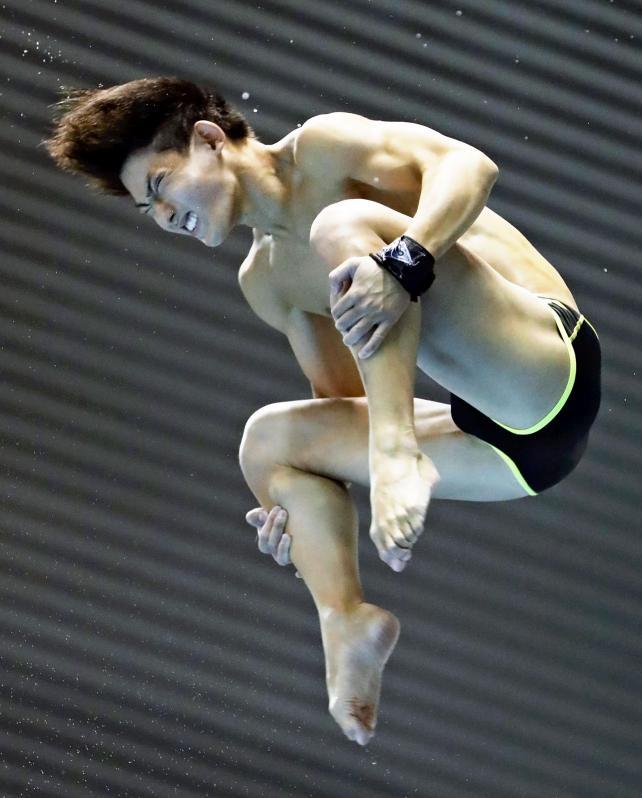 男子高飛び込みで準優勝した帝京の山田周汰 ©読売新聞社