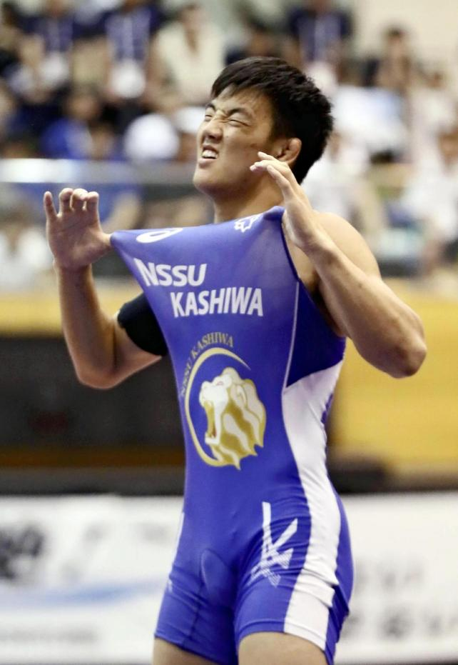 男子92キロ級で優勝した日体大柏のブフチュルーン選手