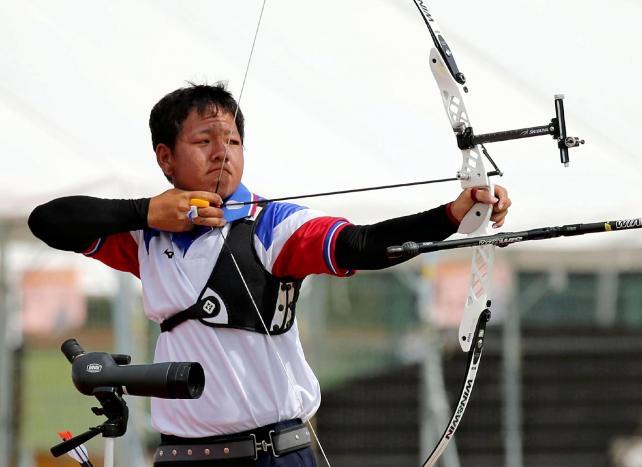 アーチェリー男子個人で優勝した愛産大三河の高井選手