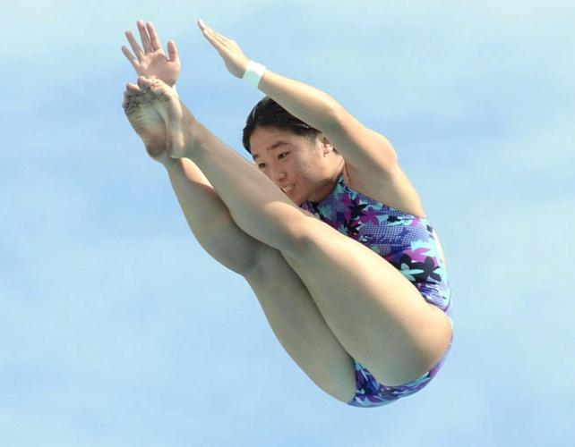 女子高飛び込みで3位に入った四ツ葉学園中教校の熊木蘭選手