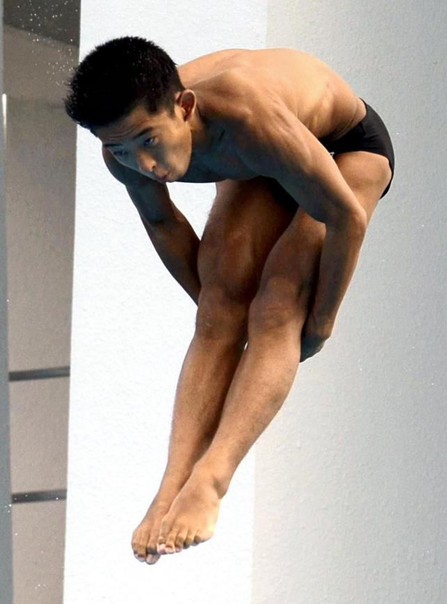 男子板飛び込みで準優勝した取手二の坂田選手