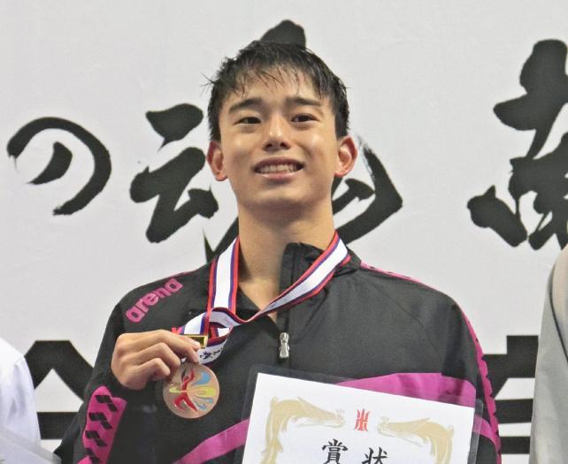 3位に入り、喜びの直江津中教校の矢沢選手