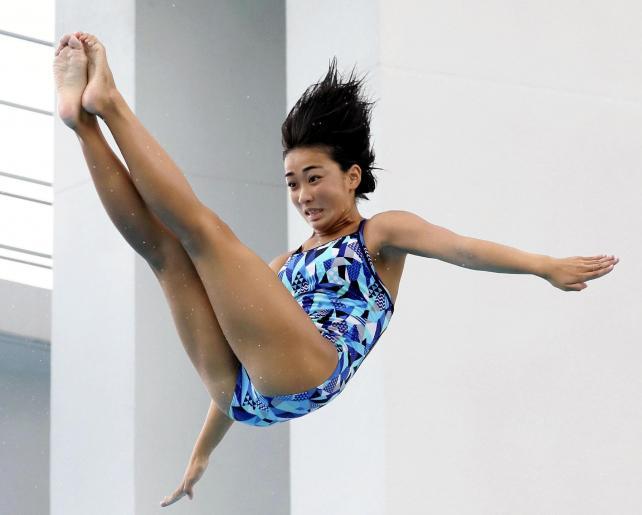 女子板飛び込みで準優勝した生光学園の森岡選手