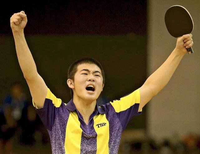 卓球男子団体の優勝に貢献した愛工大明電の加山選手