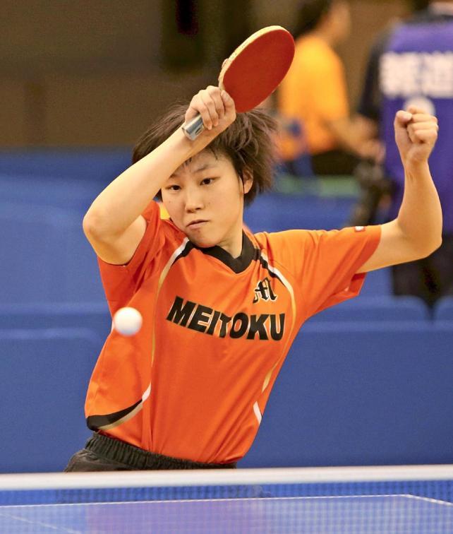 卓球女子シングルスで準優勝した明徳義塾の岡田選手