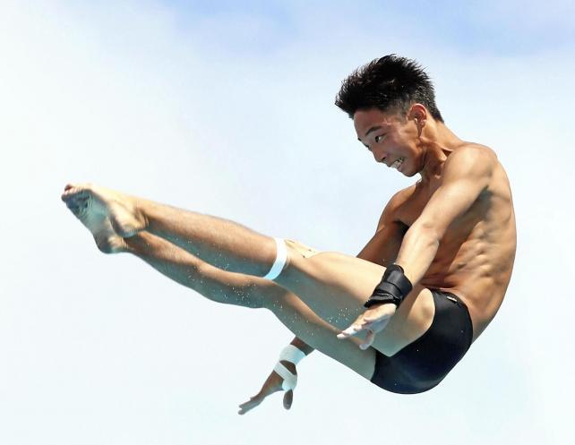 男子高飛び込みで準優勝した別府翔青の山本選手