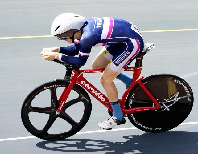 自転車男子3000メートル個人追い抜きで3位になった東北・菅原陽斗選手
