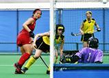 ホッケー女子準決勝、ゴールを決めた石動の沼田明日美(左) ©読売新聞社