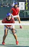 ソフトテニス女子個人、3回戦に臨む清水みなみ(手前)と中家瑞希ペア ©読売新聞社