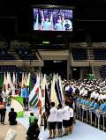 谷川龍人さんと三林愛理さんによる選手宣誓が行われた開会式 ©読売新聞社