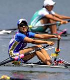 ボート女子シングルスカルで2位になった文京学院大女の郡磨璃 ©読売新聞社