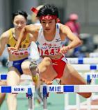 陸上女子100メートル障害 決勝に進出した宮崎工の上之園結子 ©読売新聞社