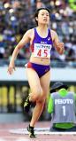 陸上女子100メートルで優勝した恵庭北の御家瀬緑 ©読売新聞社