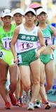 陸上女子5000メートル競歩で3位に入った県西宮の籔田みのり