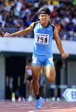 陸上男子200メートルで優勝した東海大静岡翔洋の高木悠圭 ©読売新聞社