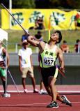 陸上男子やり投げで2位になった祐誠の平野竜矢 ©読売新聞社