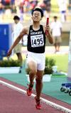 陸上男子1600メートルリレーで2位になった東福岡のアンカー・花岡一摩 ©読売新聞社