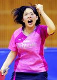 卓球女子シングルスで優勝した愛知みずほ大瑞穂の野村萌 ©読売新聞社