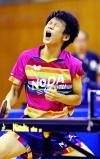 卓球男子シングルスで優勝した野田学園の戸上隼輔 ©読売新聞社
