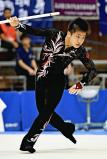 新体操男子個人、スティックで華麗な演技を見せる尼崎西の岩渕緒久斗 ©読売新聞社