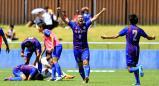 サッカー男子で優勝を決め喜ぶ山梨学院の選手たち ©読売新聞社
