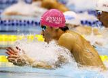 競泳男子200メートル平泳ぎで優勝した武南の林太陽 ©読売新聞社