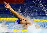 競泳男子100メートル背泳ぎで優勝した近大付の木下周勇 ©読売新聞社