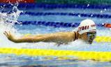 競泳女子100メートルバタフライで優勝した春日部共栄の田嶋玲奈 ©読売新聞社