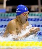 競泳男子400メートル個人メドレーで準優勝した近大付の井狩裕貴 ©読売新聞社