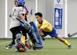 対玖珠美山戦、ゴールを決める今市の村上一瑳選手