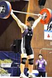 67キロ級スナッチを制し、昨年の62キロ級との連覇を果たした飯田の山下立真選手