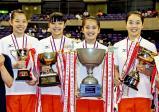 体操女子団体で優勝した大智学園東京の選手たち