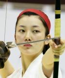 弓道女子個人で優勝した三田学園の田中希望選手