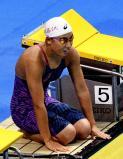 100メートル自由形で優勝、レース後プールに感謝する神奈川・日大藤沢の大内紗雪選手